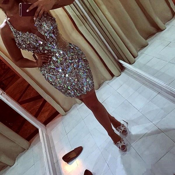 2018 Short Prom Dresses With Deep V Neck sparkly crystal Sequins Beads See Through cocktail Dresses Evening Wear Sexy Back Pageant Gowns