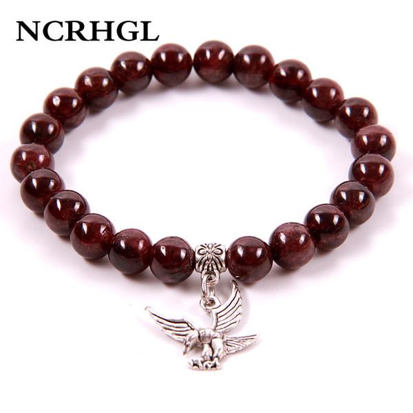 NCRHGL 2018 vendita calda granato borda il braccialetto naturale pietra aquila braccialetti con perline di fascino 18 scegliere per le donne uomini in gioielli naturali