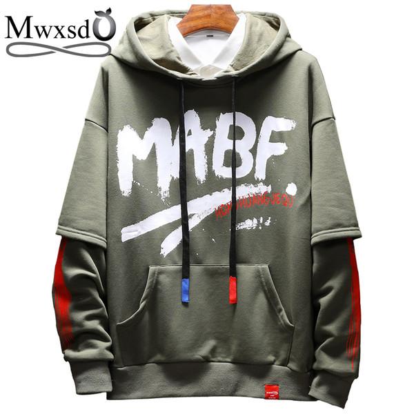 Mwxsd marca solido stampato felpe con cappuccio stile giapponese primavera felpe per uomo cotone streetwear tute hip-hop M-5XL
