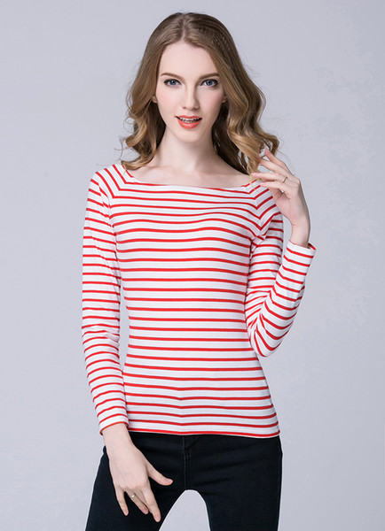 Spring Long Sleeve Black And White Striped T -Shirt Women Tops Blusas Mujer De Moda 2018 Ladies Shirt Chemise