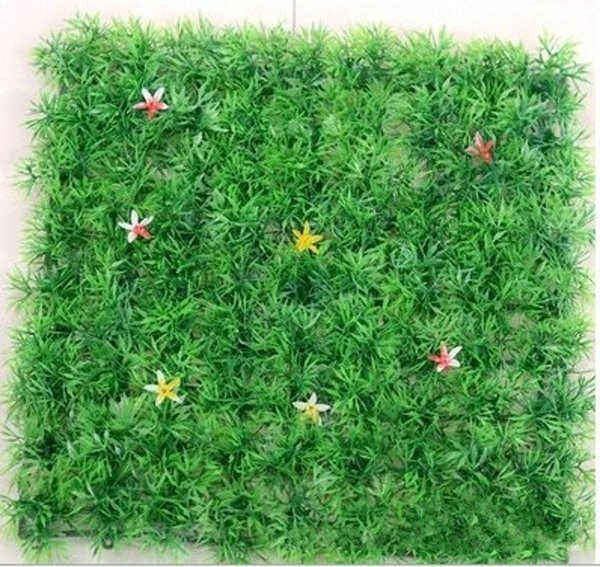 With flowers 25*25cm of Artificial plastic boxwood mat the topiary tree Grass Lawn for garden home wedding decoration free shipping