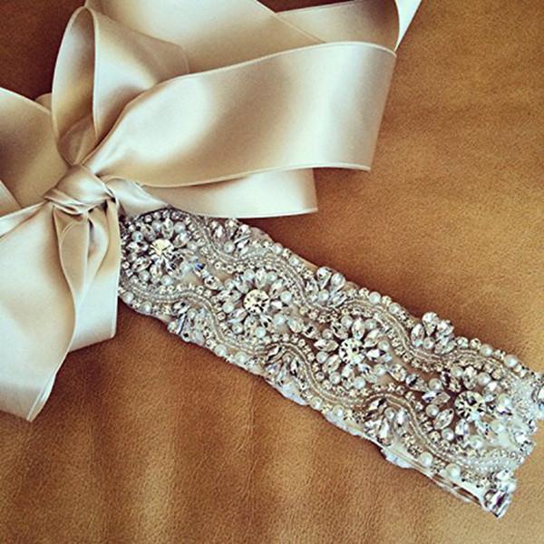 JLZXSY Bridal Sash Weddin With Pearl Crystal Rhinestone Evening Dress Belt Prom Sash Wedding Accessories (17.7x2.2inches)