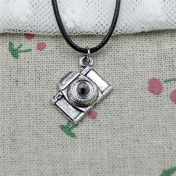 Creative Fashion Antique Silver Pendant retro camera 16*21*6mm Necklace Choker Charm Black Leather Cord Handmade Jewlery