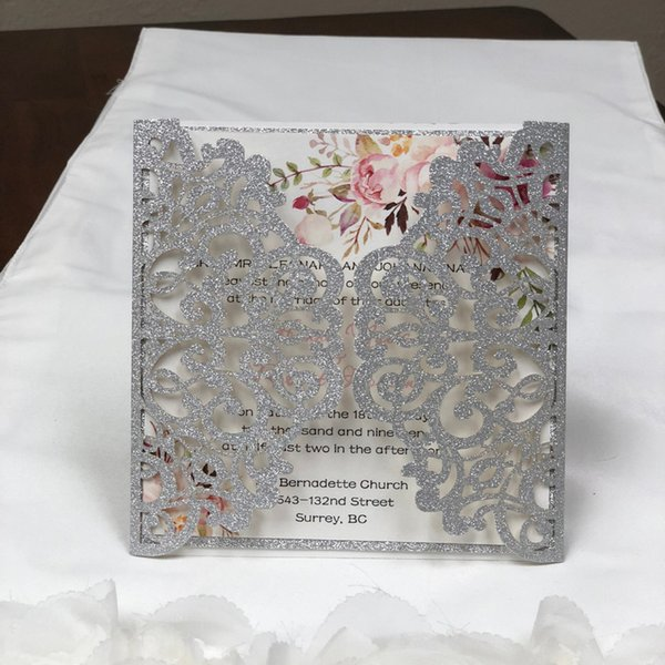 Gorgeous Glitter Silver Laser Cut Wedding Invitation Set Blank Inner Sheet Provide Free Printing and Free Shipping