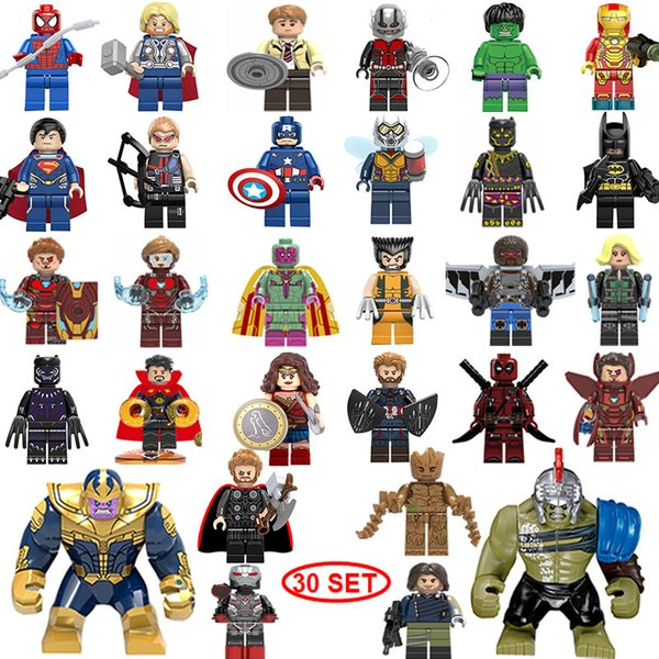 NEUE Superheld Mini Figuren 30SET Thanos Big Hulk Wonder Frau Deadpool Logan Black Panther Doktor Strange Bausteine Kinder Geschenke