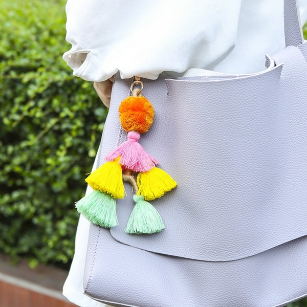 manilai bohemian handmade tassel bag pendant key chains for women fashion charm multicolor accessories pompom keychain jewelry, Silver