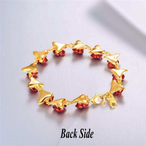 Pulsera rosa roja flores color oro pulsera de cadena encanto regalo de navidad para las mujeres de moda nuevas joyas calientes pulseras al por mayor