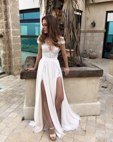Sexy Berta Bridal Top See Through Lace Beach Wedding Dresses With Sleeve side Slit Chiffon Formal Country Bohemian robe de mariée Cheap 2018