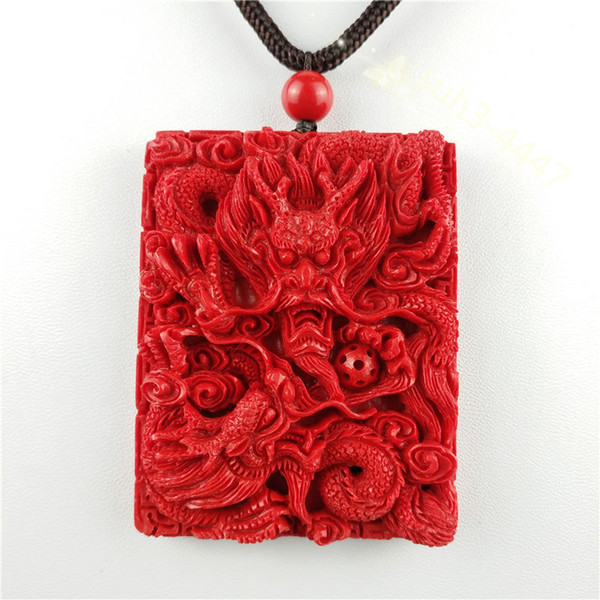 Chinese Red Organic Cinnabar Dragon Pendant Necklace Lucky Jewelry Amulet Hot