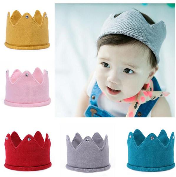 Baby Knit Crown Tiara Kids Infant Crochet Headband cap hat birthday party Photography props Beanie Bonnet 5color B11