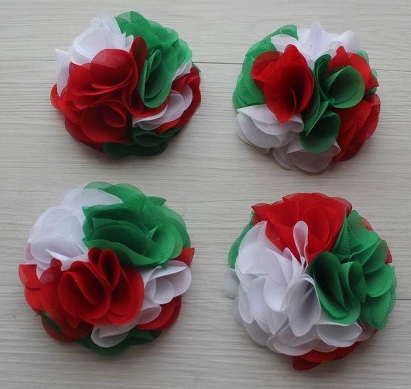 30pcs 24 petals 10cm Christmas chiffon flowers for girls headbands,Christmas craft gift flowers,hair clip flowers