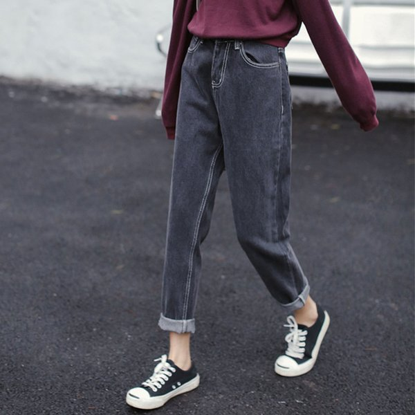 Smoke gray jeans women loose bf tide 2018 straight autumn and winter new nine pants Korean version of spring pants