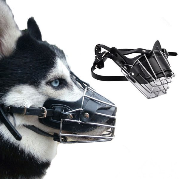 Dog Leather Mask Anti Bark Bite Muzzle Iron Pet Mouth Cover For Large Dog Size M L