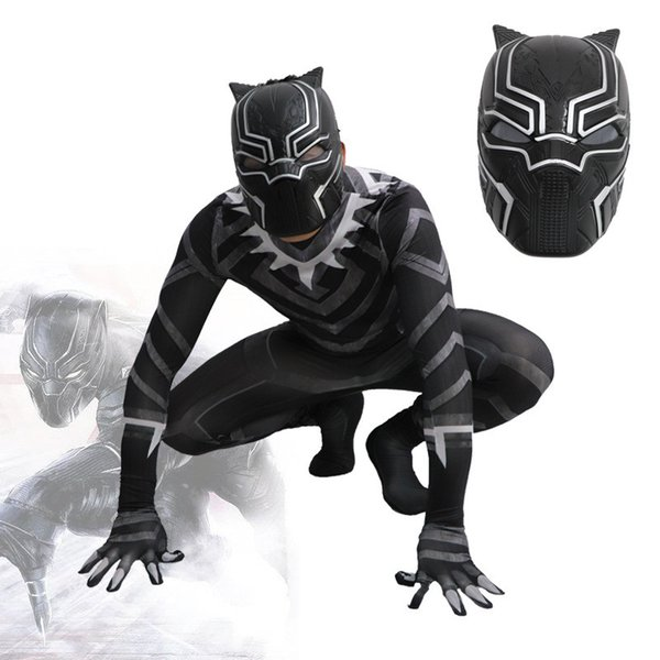 Black Panther 2018 Film Version Dyesub Cosplay Costume No Mask Spandex Lycra Zentai Halloween Party suit Onesies Avengers Super Heroes funny