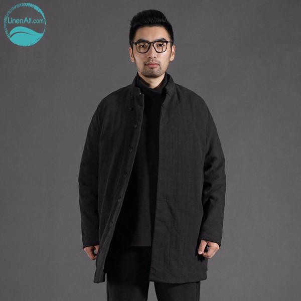 Lino Todos los hombres originales otoño invierno estilo chino casual algodón negro hombres sueltos largo abrigo de parkas de algodón