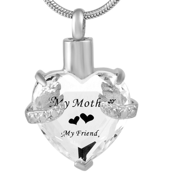 """Engraved """"My Mother My Friend"""" Heart Birthstone Cremation Necklace Hold Ashes Stainless Steel Memorial Urn Jewelry DJX9790"""