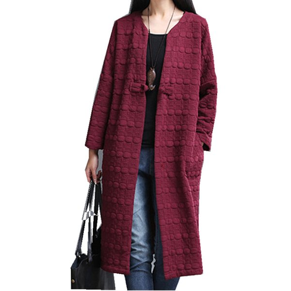 Chinese Style Autumn Casaco Feminino Loose Plus Size Female Cardigan Long Trench Coat Vintage Cotton Linen Women's Windbreaker