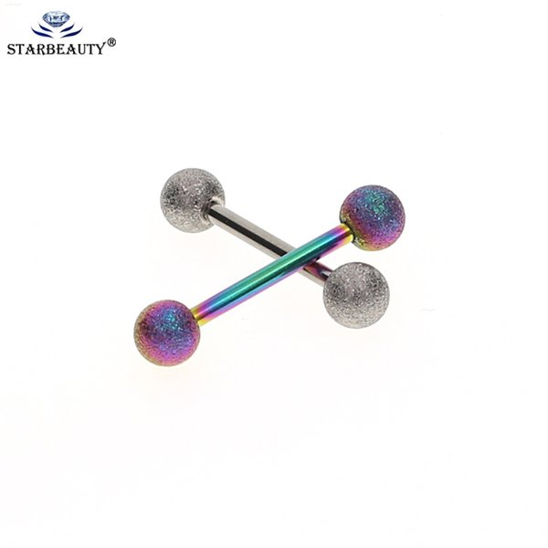 2 Pcs Mix Color Mix Cor 14G Tongue Barbell Anéis Mamilo Anel Barras Body Piercing Jóias para As Mulheres