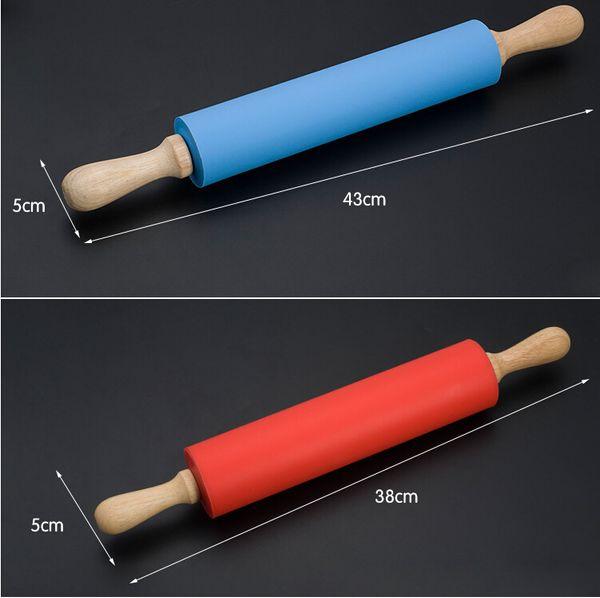 Silikon Roll Nudel Nudelholz Antihaft Gebäck Backwerkzeug Holzgriff