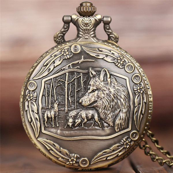 Cool Wolf Pocket Watch Pendant Mens Boys Children Necklace Vintage Quartz Analog Clock Wolves Tribe Fob Clock Gifts Collection