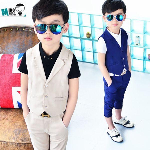 New Children Suit Baby Boys Suits Kids Blazer Boys Formal Suit For Weddings Boys Clothes Set Kids Vest+Pants 2pcs 3-9Y