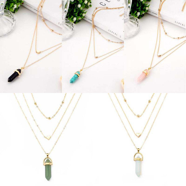 Hexagonal Column Necklaces Crystal Pendants Love Bead Chain Multi-layer Necklace For Women Fashion Jewelry Christmas Gift D782S