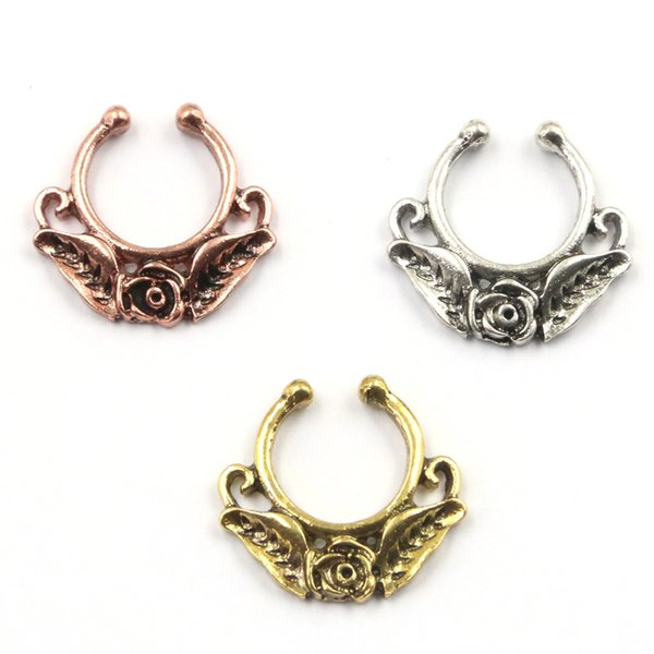 30pcs NEW hot sell body jewelry alloy silver and rose gold rose flower faux piercing hoop clip fake nose ring septum for women