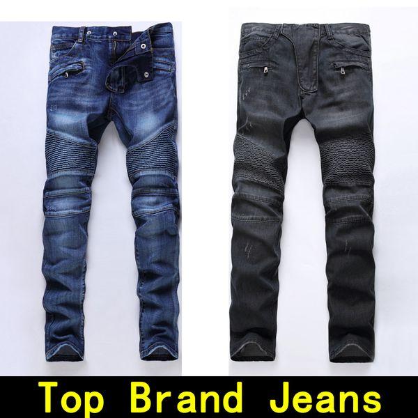 Mens jeans designer jeans Motorcycle biker size 28 42 Slim Tight Hole Skinny Men's Distressed ture pants Hip Hop Men Moto Rock Revival jeans