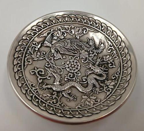 Chinesischer alter cupronickel handgemachter geschnitzter Drache und Phoenix-Teller