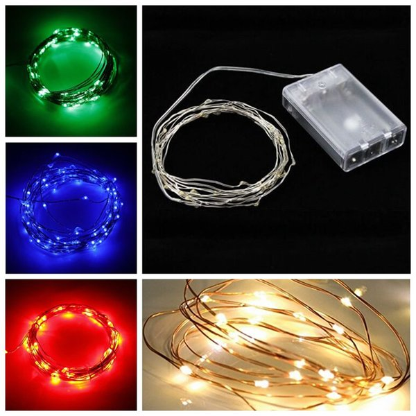 Sliver String Light RGB 2M/3M/5M/10M 20/30/50/100 LED Christmas Light Waterproof lights Wedding Party Decoration AA Battery Operated