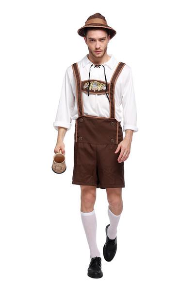 Costume Lederhosen Bavarian Octoberfest German Festival Beer Cospaly Halloween For Men Plus Size Clothing female PS061