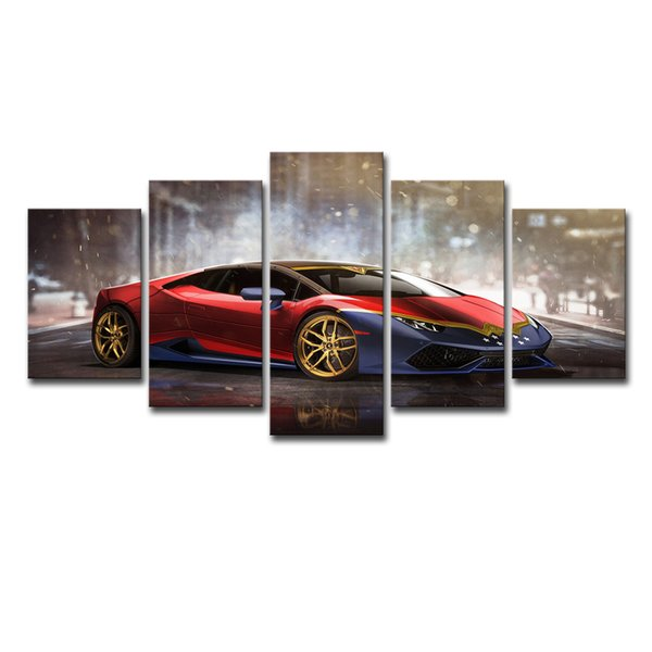 Canvas Painting Wall Art Frame Home Decor Living Room Pictures 5 Pieces Red Luxury Sports Car Huracan Posters HD Printed