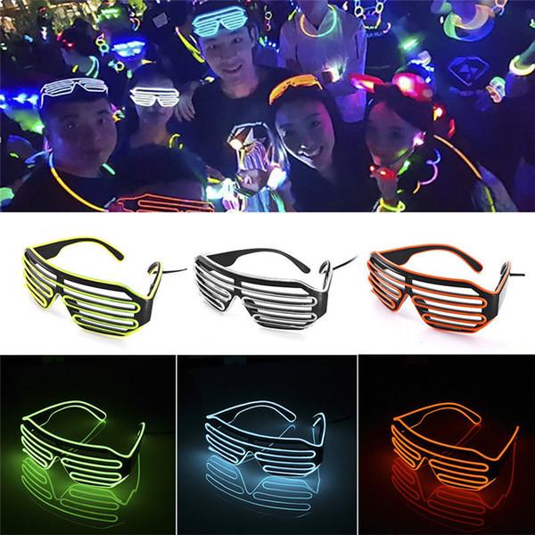 EL Wire Light LED Gafas Brillantes Light Party Glasses Club Bar Rendimiento Resplandor Fiesta DJ Baile Anteojos Artículos de fiesta GGA673 120PCS