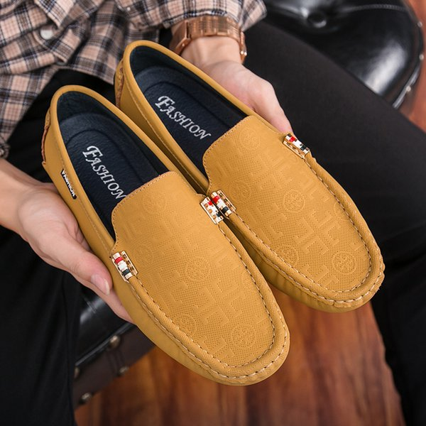 Men Boat Shoes Casual Fashion 2018 Soft Breathable Men Driving Shoes Slip-On Round Toe Flat Oxfords Business Formal