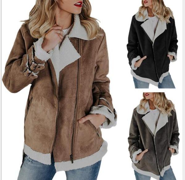 Abrigo de la locomotora de la chaqueta caliente de la piel de gamuza de las mujeres outwear ropa ocasional de la manera de las mujeres chaquetas Locomotive Coat LJJK1072