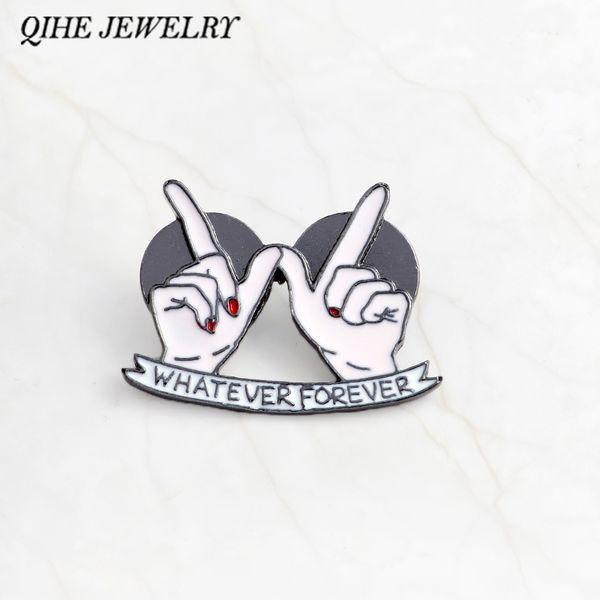 QIHE JEWELRY Whatever forever pin Hard enamel pin Brooch Pinback Lapel pin Gift for girlfriends best friends girls BFF