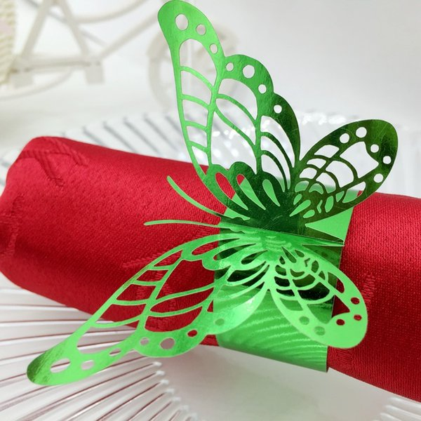 F3 240pcs Laser Cut Hollow Butterfly Paper Card Napkin Ring Serviette Buckle Holder Hotel Wedding Party Favour Decoration