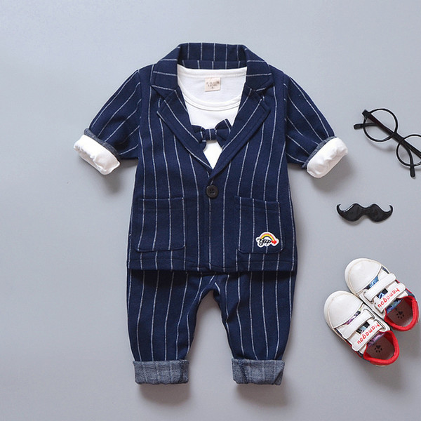 BibiCola autumn baby boy clothes gentleman suit for wedding birthdays party cotton coat +t-shirt+pants infant boy outifits set