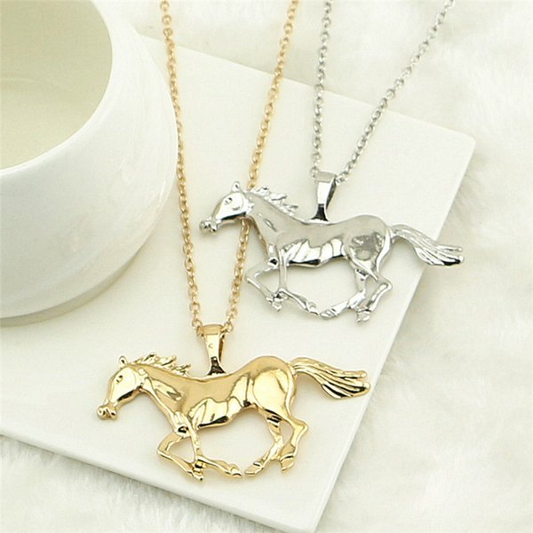 best selling Fashion Jewelry Horse Pendant Necklace For Women Ladies Silver Gold Plated Girl Mom Gift