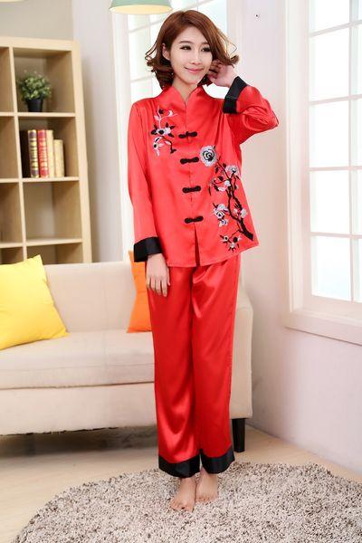 Wholesale- Pink Traditional Chinese Women Silk Pajamas Set Embroidery  Pyjamas Suit Home Wear Tang Suit Sleepwear Flower 2PCS M L XL WP002 7c8215220