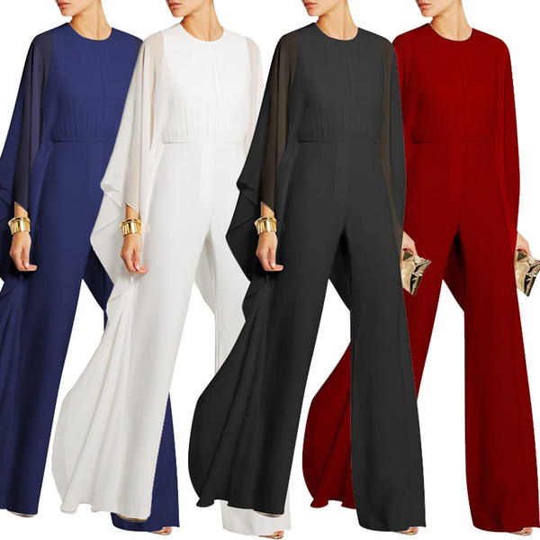 Elegant rompers womens jumpsuit long pant 2018 Fashion Women Chiffon Cape Long Sleeve Women's Jumpsuits Casual Wide leg pants