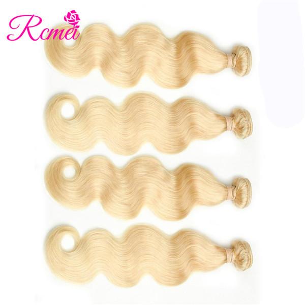Rcmei Mongolian Body Wave Remy Human Hair Weft 4 Bundles #613 Blonde Human Hair Weave hair Bundles 10-30inch Free Shipping