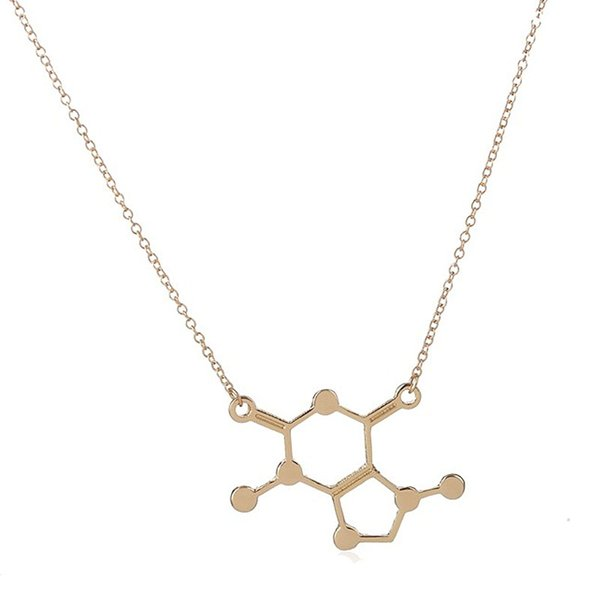 Wholesale Jewelry 10pc Chocolate Molecule Pendant Necklace Gold and Real Silver Plated Chemistry Science Anime Couple Love