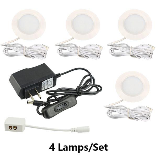 White Body AC 100-240V Adaptador e interruptor 3W LED debajo de las luces del gabinete Traje de la lámpara incorporada del gabinete del vino Bajo voltaje led lámpara del guardarropa
