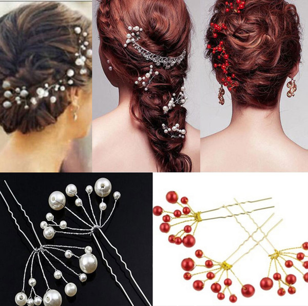 best selling New Arrival 3 colors White Red Fuchsia Wedding Hair Pins for Bridal Pearls Bridal Hair Pins Headpieces U Hairpin Fork Hair Pearl Flower