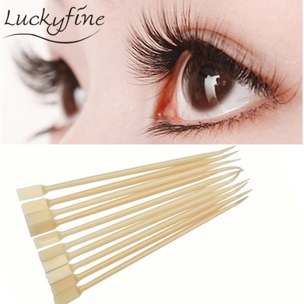 10pcs/pack Pro False Eyelash Tweezers Plastic Crochet Needles Anti-static Makeup Eye Lashes Extension Perm Beaty DIY Tool 2017