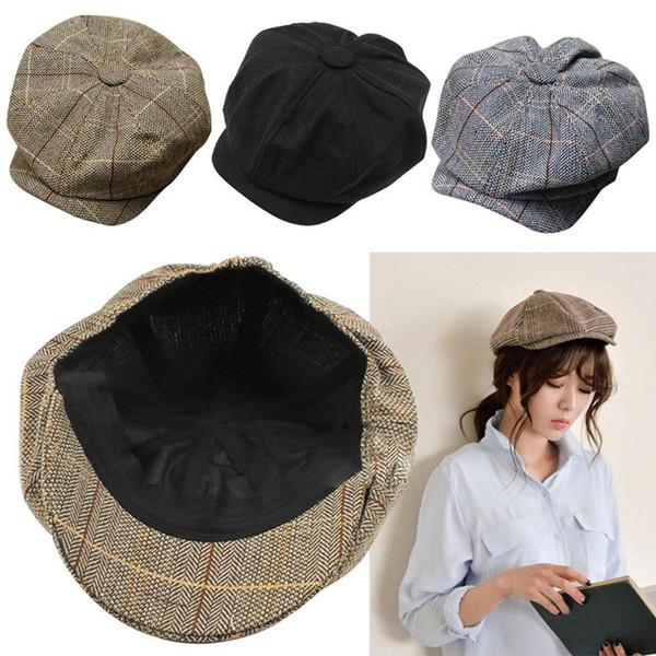 Hombres Mujeres Vendedor de periódicos Conducción plana Gatsby Tweed Sombrero para el sol País Boina Baker Cap pintor gorras octogonales 2016 moda nuevo B1