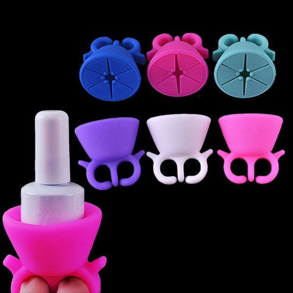 Silicone Stand Holder Nail Polish Gel Display Stand Ring Nail Art Equipment Tool Kits Durable Round Shape Varnish Polish Seat Tool 6 Colors