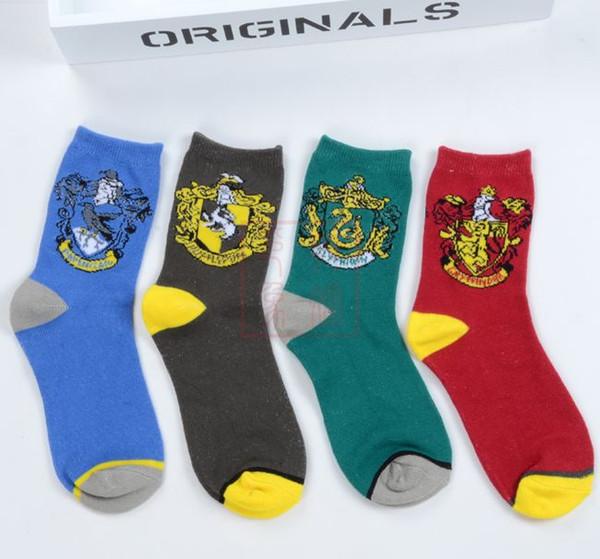 4 Colors Printing Socks Cotton Harry Potter Adult Men's College Unisex Socks School designer basketball Socks Free Shipping