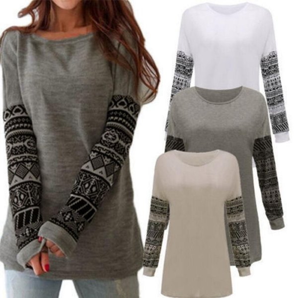 Women Printing Patchwork Casual Crew Neck Loose Long Sleeve T-shirts Blouse Tops Printed Cardigan 3 Colors OOA4290